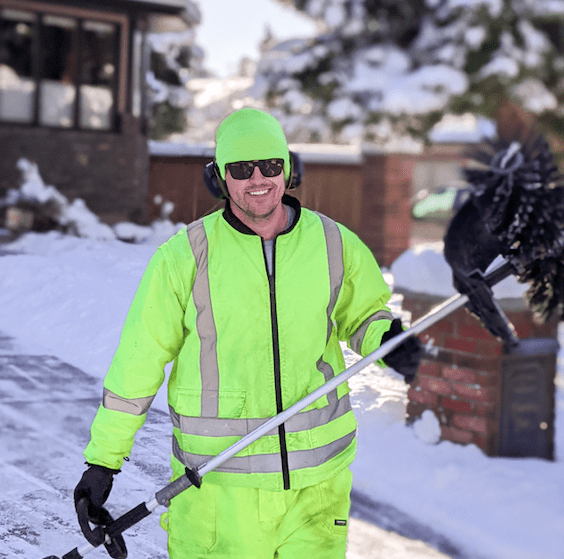 Aleks from Rainfall Landscapes   the best snow removal services in Calgary